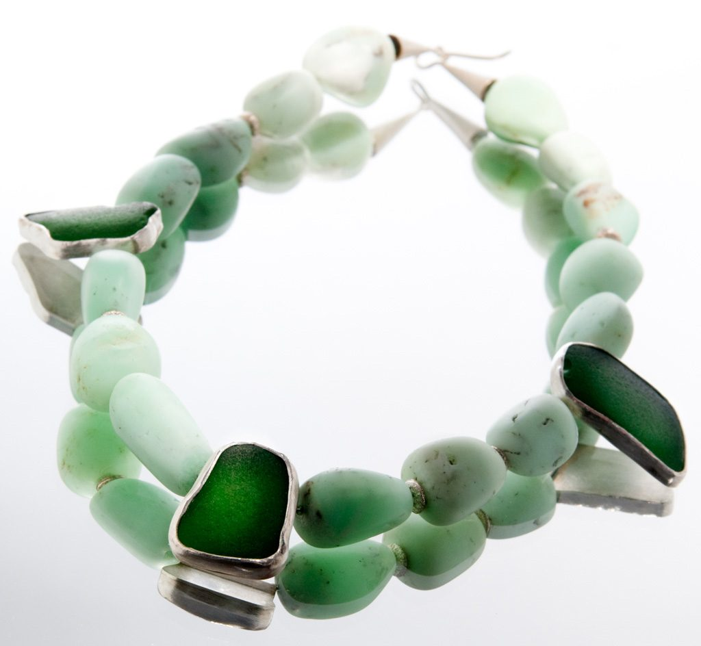 hellgrüner Chrysopras, Strandglas, 925 er Silber