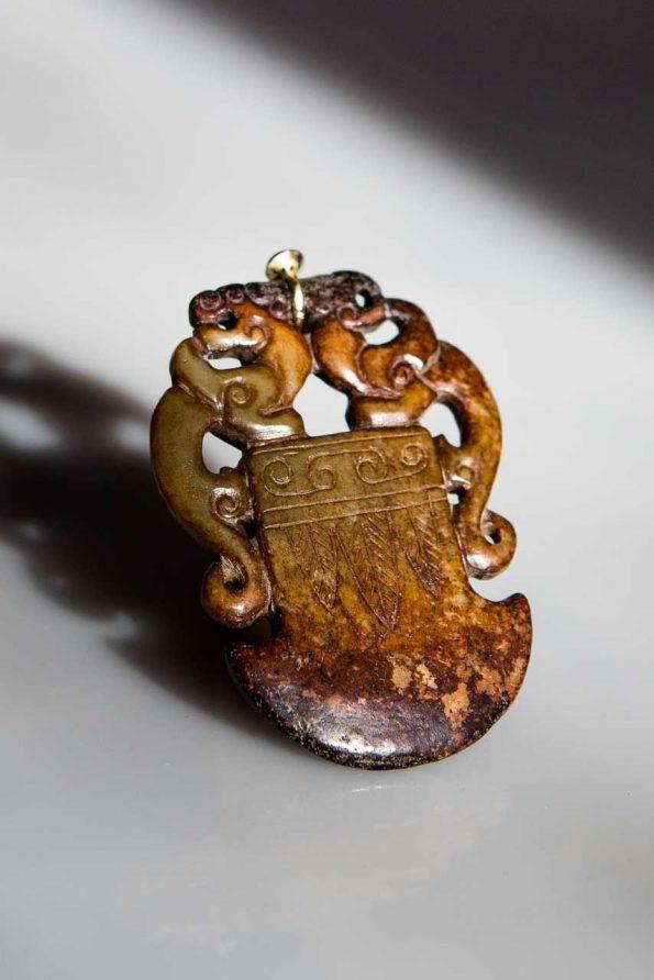antiker Jadeanhänger, 585er Gold, Brilliant
