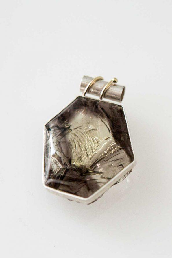 Rauchquarzanhänger, Feinsilber, 585er Gold